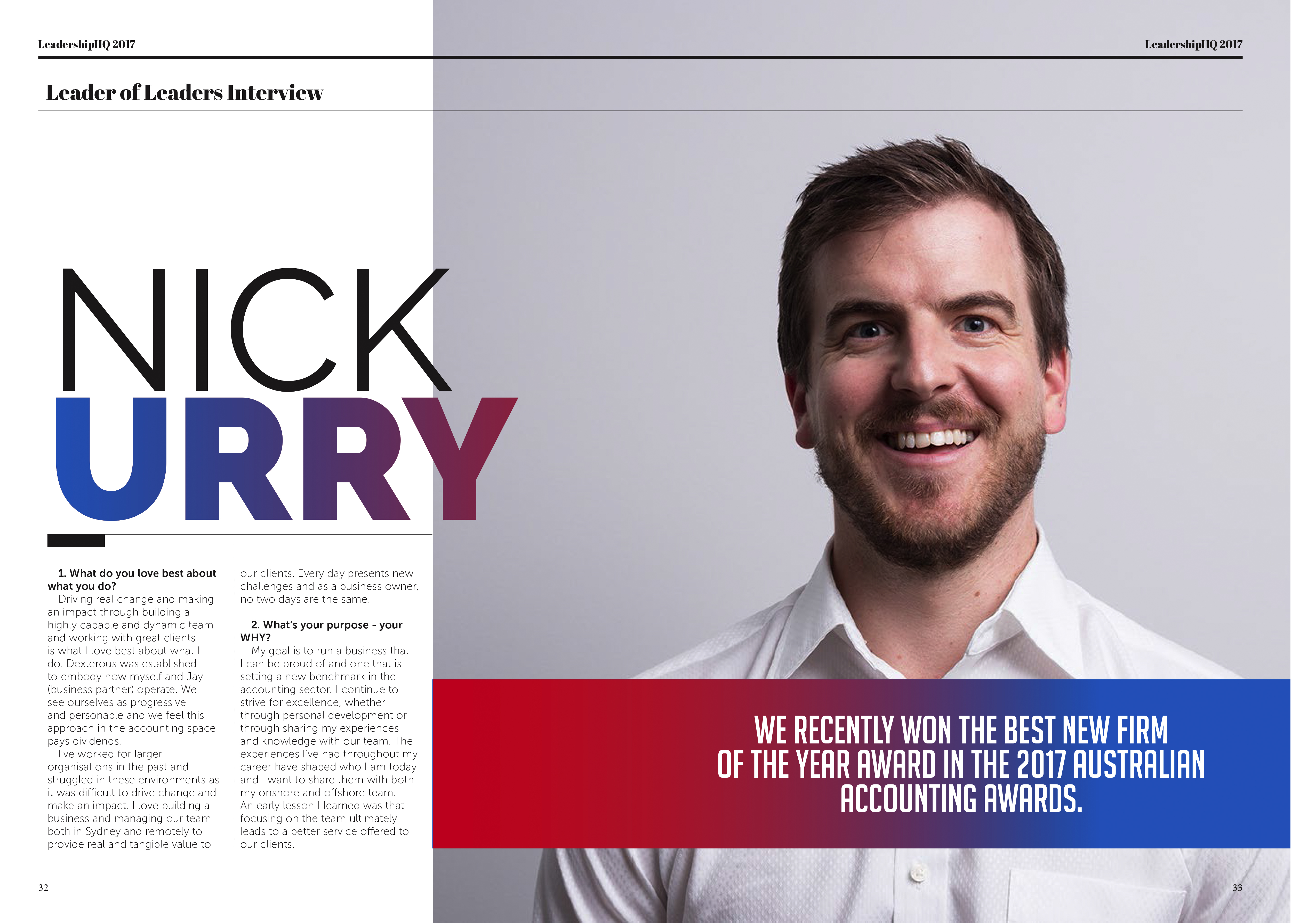 Dexterous co-founder features in influential LeadershipHQ magazine